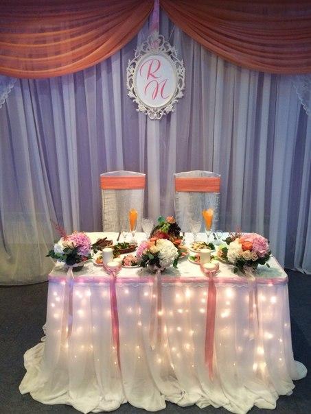 Оформление и декор стола молодых на свадьбу