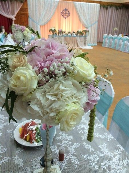 композиции из цветов на столы гостям