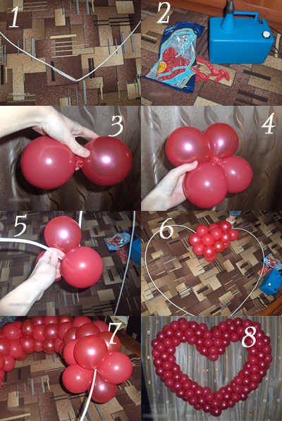Как сделать из шаров сердце своими руками мастер класс